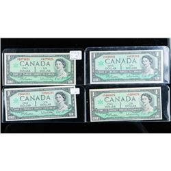 Group of (4) Bank of Canada 1967 1.00 Serial  Numbers B/R