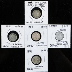 Group (5) Canada Silver 10 cents - 1950-1954