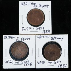 Group of (3) UK 1884-1885-1886 Half Penny  VF-F