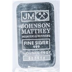 Scare - Johnson Matthey Sooter Bar .999 Fine  Silver. 1oz. Very Collectible.