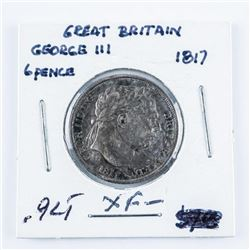 Great Britain 1817 George III 6 Pence Coin