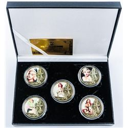 Marilyn Monroe Collection 5 24kt Gold Plated  medallions with Colour. with C.O.A. LE 1000
