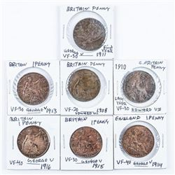 Group of (7) Great Britain 1 Penny: 1908,  1910, 1911, 1913, 1914, 1915, 1916