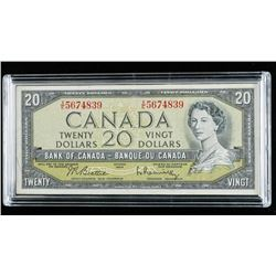 Bank of Canada 1954 20.00 Modified Portrait  B/R Museum Case