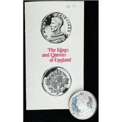 "King of England - King Henry V 1413-1422 - 2""  Round Proof Struck Medallion, Slight Patina  of Edgin"