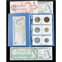 Coin Stock Book with 18 Coins. Includes  Silver with Canada Notes