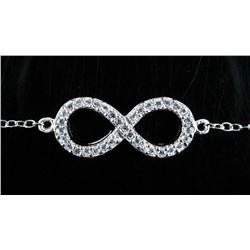 925 Sterling Silver Infinity Design Bracelet  , 35 Natural CZ's Appraised: $590.00