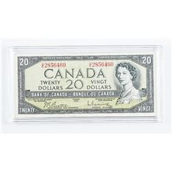 Bank of Canada 1954 Modified Portrait 20.00  Note B/R Cased