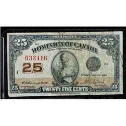 Dominion of Canada 1923 25 Cents 2  SignaturesÂ