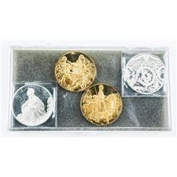 Group (4) 925 Sterling Silver with 24kt Gold  Plated, Artistic Medals