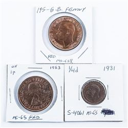 Group of (3) Coins of Great Britain 1953 and  1951 Red MS65 - Penny 1931 1/4d MS65 S-4046