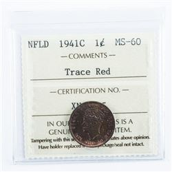NFLD 1941C 1 Cent Trace Red. MS60 ICCS