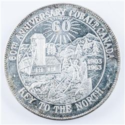 60th Anniversary Cobalt Canada, 1903-1963  .9999 Fine Silver 46 grams Struck From Mines  in Cobalt C