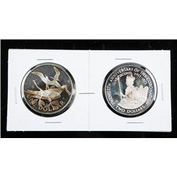 Pair Estate 925 Sterling Silver Medals