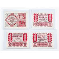 Group of (4) Austria 1922 Austrian Government  1 Kronen x 3, Plus 1 x 2 Kronen AU-UNC (OXR)