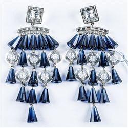 Handmade Fancy Designer Earrings 36 Swarovski  Elements, Fancy Cuts 16.00ct and 57.90grams.  MADE IN