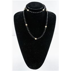 """Estate 30"""" Onyx Bead Necklace with 9 14kt  Balls/Clasp"""