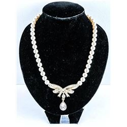 """925 Silver Handmade Pearl Necklace and  Pendant Yellow Gold Plated 16"""" Pearls 8.00mm  30ct Swarovski"""