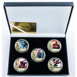 Lot (5) Spiderman 24kt Gold Plated Medallions  in Case with COA.