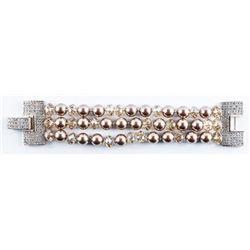 Handmade Fancy Bracelet, 24 Swarovski Pearls  (11mm) Bronze Colour and 228 Swarovski  Elements 40ct.