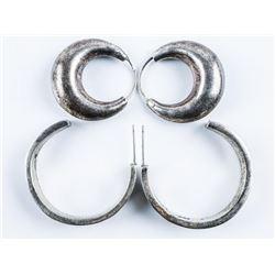 Estate Lot (2) Pair Vintage Silver Hoop  Earrings