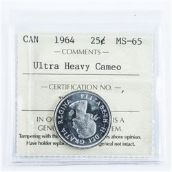 1964 Canada Silver 25 Cent MS-65. Ultra Heavy  Cameo 'ICCS'