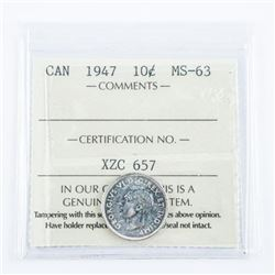 1947 Canada Silver 10 Cent MS63. ICCS