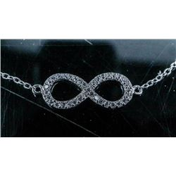 925 Silver Handmade Infinity Bracelet with 35  Natural 'CZ'