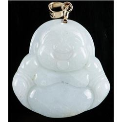 14kt Gold Handmade Smiling Buddha Pendant  Carved Nephrite Jade. Appraised: $880.00