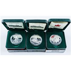 Group (3) RCM Proof 925 Silver Dollars -  1998, 1999, 2000