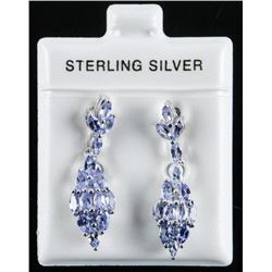 925 Sterling Silver Earrings 2 Tier 32  Marquise Tanzanites 1.00ct Appraised  :$1025.00