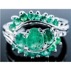 925 Silver Ring 16 Genuine Natural Emeralds  1.50ct Appraised: $885.00