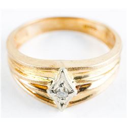 Estate Gents 10kt Gold Diamond Band Ring.  Size 10 1/4