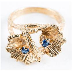 Estate 10kt Gold 2 Blue Sapphire Ring. Size  4.5
