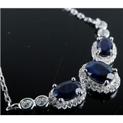 925 Sterling Necklace 3 Oval Blue Sapphires  and 'CZ' 3.20ct Appraised: $1345.00