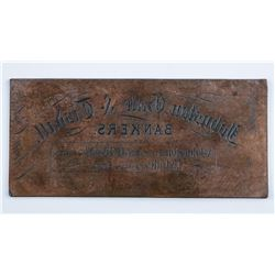 RARE Printing Plate 'Johnston, Gale and  Tisdale' - Guelph - Purchased from Canadian  Legacy Auction