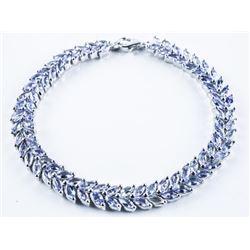 925 Sterling Silver Bracelet Marquise Custom  Handset, Genuine Tanzanites