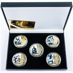 Lot (5) Batman 24kt Gold Plated Medallions in  Case with COA.