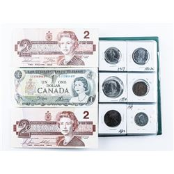 Coin Stock Book with 18 Coins and Notes, US,  CAD Silver