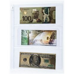 Group (3) 24kt Gold Notes Includes .9999 Fine  Pure Gold Bar in Note.