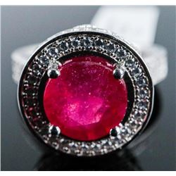 Ladies 925 Silver Ring with Ruby and CZ.  TRRV: $1135.00