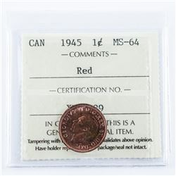 1945 Canada 1 CENT MS-64 Red ICCS