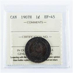 1907H Canada 1 Cent EF-45 ICCS