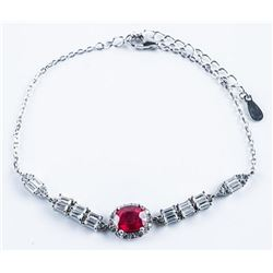 925 Sterling Silver Bracelet Oval Ruby and CZ