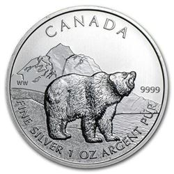 Sold Out - Royal Canadian Mint .999 Fine  Silver $5 Grizzly 1oz.