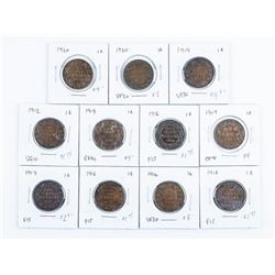 Group of (11) Canada Large Cent Coins