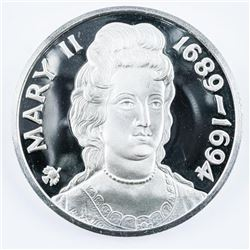 "Queen of England 'Mary 1689-1694' 2"" Round  Proof Struck Medallion, Slight Patina of  Edging 925 Ste"
