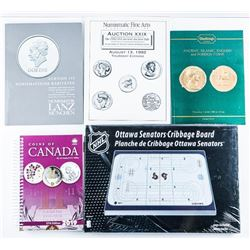 Estate Group of Coin Catalogues, Price Guide  and Cribbage Board