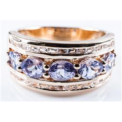 925 Silver / Gold Plated Flat Shank Ring  1.70ct of Tanzanites and Sapphires.  Appraised: $1240.00