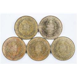 lot (5) 1867-1967 Confederation Medals, Coat  of Arms